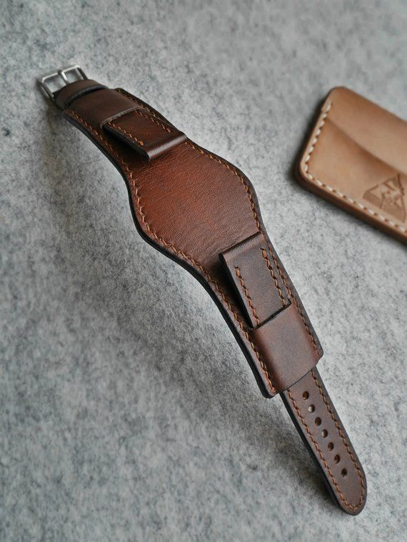 5d51fd0de7aa Handcrafted genuine leather Cuff watch band 18mm