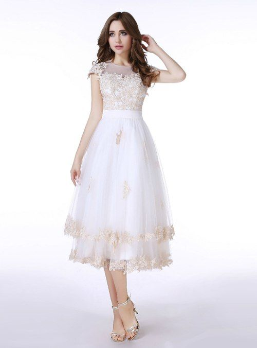 dc1ae7c866d Silhouette a-line Hemline tea length Neckline scoop Fabric tulle Shown  Color white Sleeve Style sleeveless Back Style covered button Embellishment  appliques