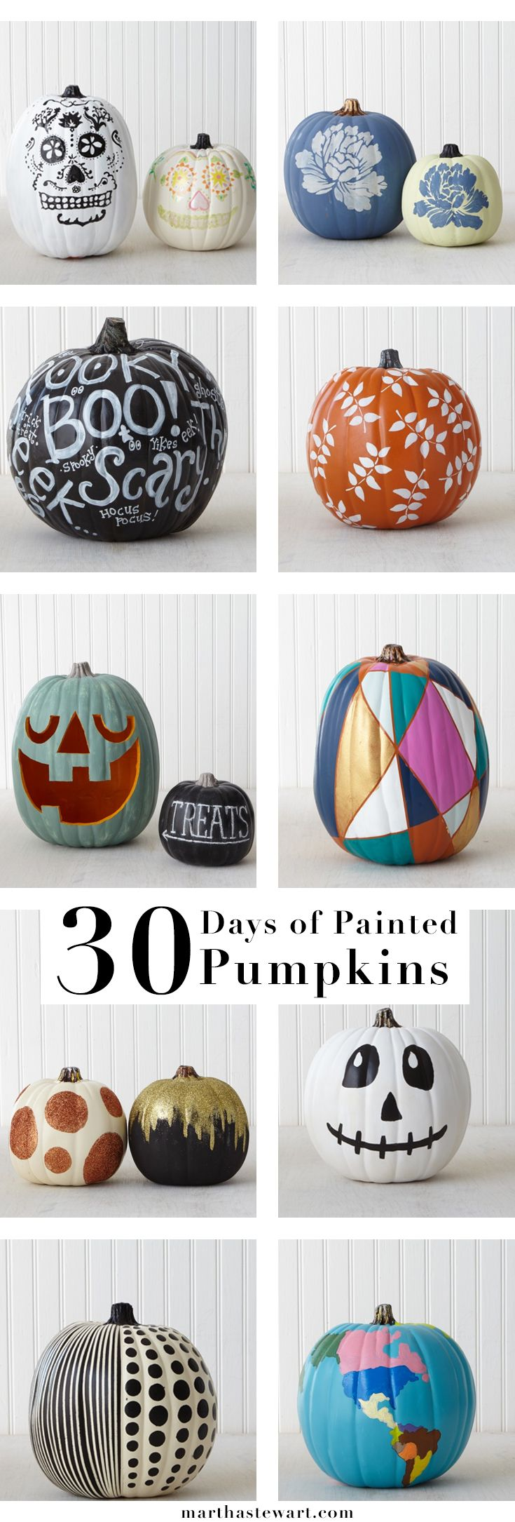 Get inspired by handmade pumpkin designs by Martha Stewart crafters and staffers using Martha Stewart Craft paints!