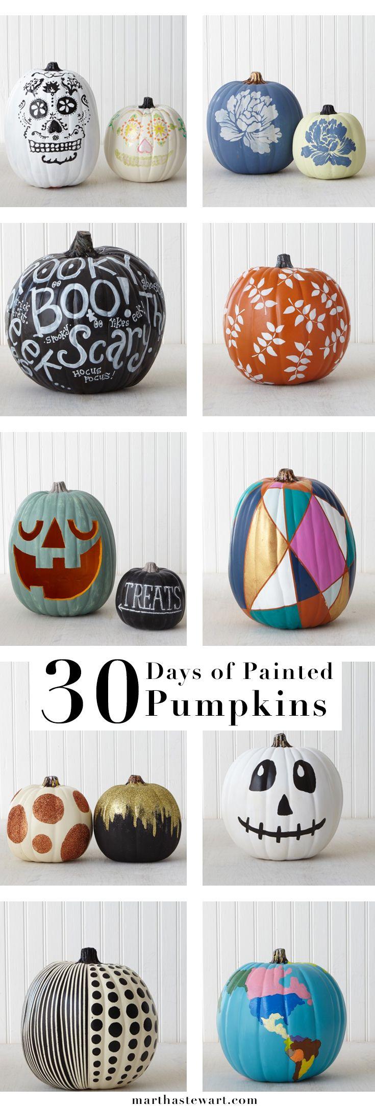 Get inspired by handmade pumpkin designs by Martha Stewart crafters and staffers using Martha Stewart Craft paints!