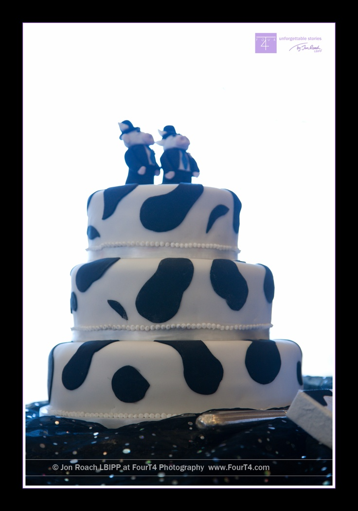 Cow themed cake for a gay wedding