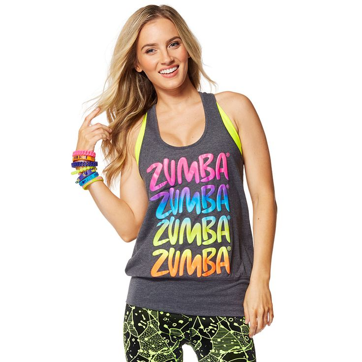 ZUMBA HAPPY BUBBLE TANK - BACK TO BLACK HEATHER ------ Let the sunshine in with the Zumba Happy Bubble Tank. With a sassy bubble silhouette and fun multicoloured front graphic, this top dares you to stare!