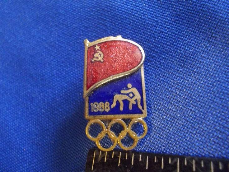 1988 Seoul Olympics NOC Sports Pin USSR Soviet Union Wrestling