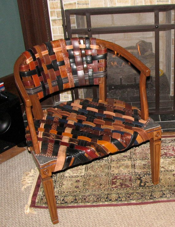 Repurposed swanky leather belt chair by askygreen on etsy Repurposed leather belts