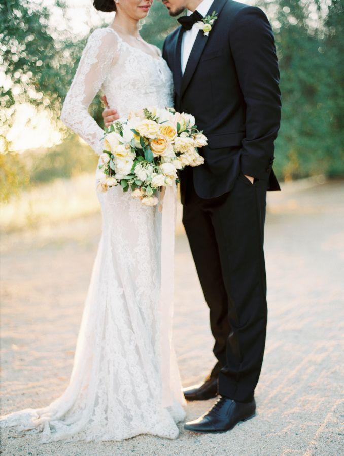 Elegant Lace aline wedding dress: http://www.stylemepretty.com/2016/10/04/elegant-yellow-color-palette-wedding/ Photography: Kurt Boomer - http://www.kurtboomer.com/