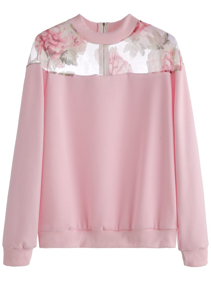 Pink Florals Mesh Insert Zipper Sweatshirt — 0.00 € -------------color: Pink size: one-size