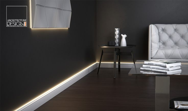 WALLSTYL® Light Baseboard for WALLSTYL® Baseboards / Complete system, easy to install and reversible by magnetic mount