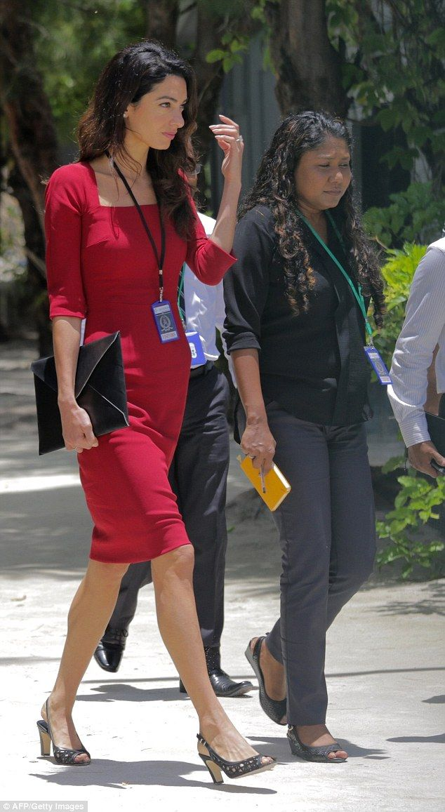 Back to work: Amal Clooney was seen heading toMaldivian High Court on Thursday for anothe...
