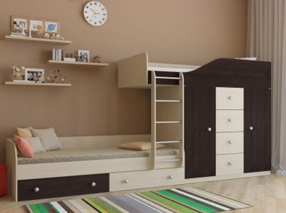 Двухъярусные кровати : Двухъярусная кровать со шкафом Астра-6