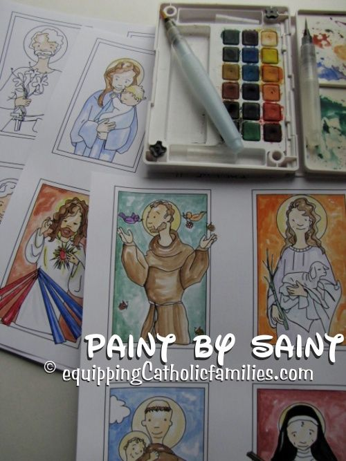 Paint by Saint! Use the black and white templates in the Saint Scripts Craft Kits to create your own stylized Holy Cards!