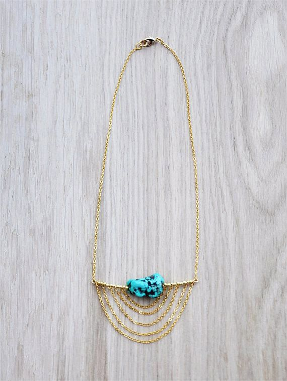 Coucou Suzette / Lula Necklace / Turquoise & chain necklace / Tribal chic necklace / bohemian necklace / Elegant boho statement necklace
