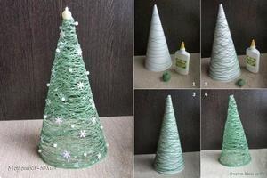 Bekijk de foto van tyvonners met als titel Zelf kerstboompjes van garen maken en andere inspirerende plaatjes op Welke.nl.