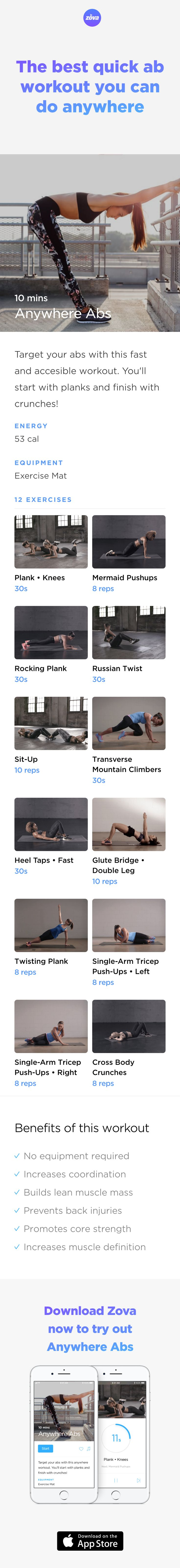 Who says you need to workout in a gym? This no-equipment workout is fast and effective, and can be done anywhere. Using bodyweight exercises, you'll be able to carve out the perfect abs in under 10 minutes. All you need is a little energy, a little space and some motivation! #workout #abs #fitness
