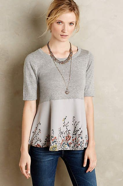 Sewing inspiration - take finished jersey knit top, add a cotton or silky bottom.