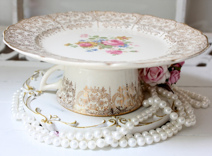 Cake plate dessert pedestal Small Cake Plate in Vintage American China. $10.00 via Etsy & 8 best How to make a cake plate stand images on Pinterest | Cake ...