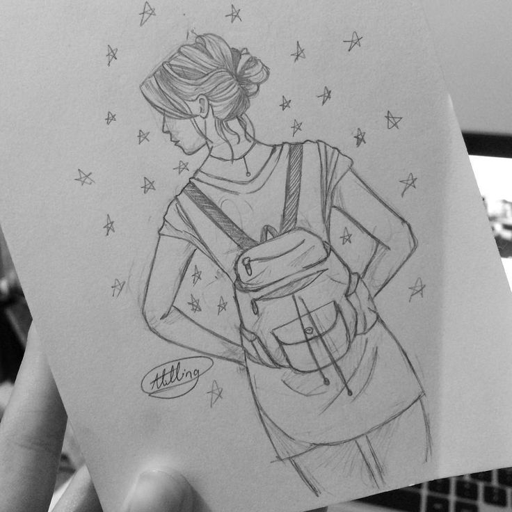 girl with stars and a backpack drawing sketch...very tumblr done by: @cheshire_sketch