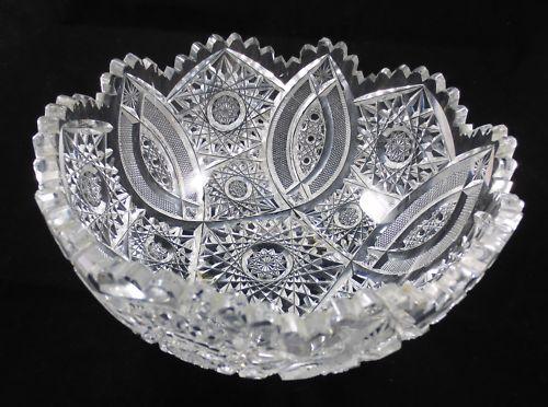 American Brilliant  crystal cut glass | Antique American Cut Glass Punch Bowl Medium Size 8 inch Diameter ...