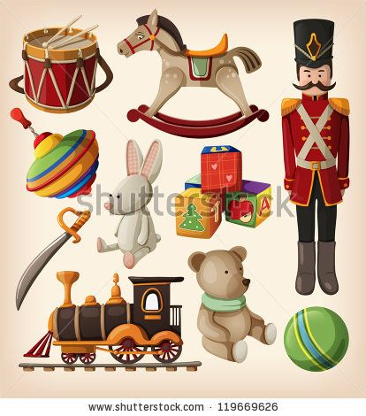 Set of colorful vintage christmas toys for kids. by moonkin, via Shutterstock