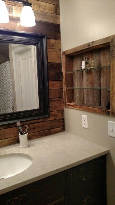 17 best images about pallet bathroom on pinterest pallet for Bathroom ideas made from pallets