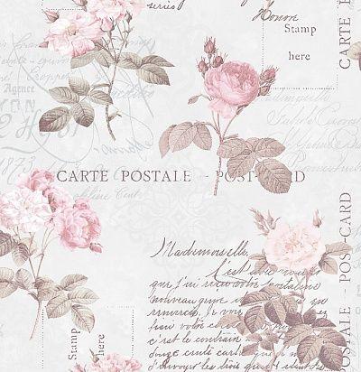 винтажные обои с цветочно-растительным рисунком: открытками и розами G56286 Aura для спальни и романтичных интерьеров