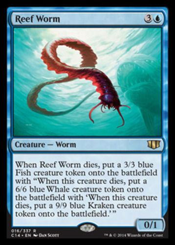 Reef-Worm-x4-Magic-the-Gathering-4x-Commander-2014-mtg-card-lot-rare-blue