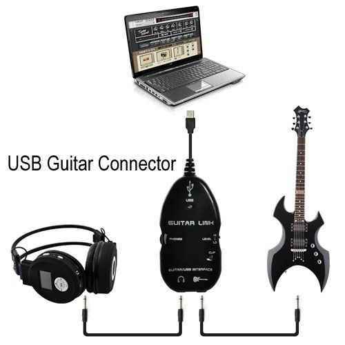 Guitar to USB Interface Link Cable Adapter Audio Connector Recorder for PC//Computer