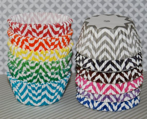 Chevron cupcake liners   60 count  baking cups by swigshoppe, $4.00