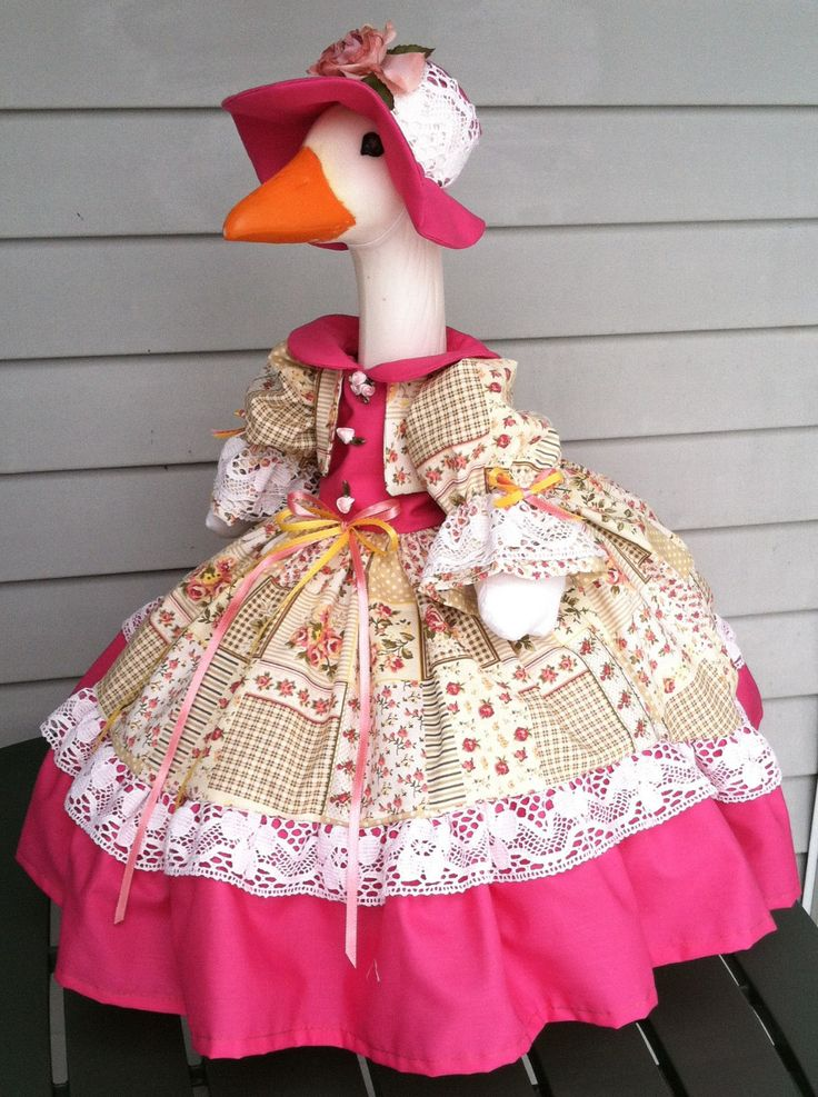 (goose not included) The skirt, vest and sleeves were made from a (faux patchwork) cotton fabric, with a cream background, squares with different designs, and topped off with lots of little roses in shades of pinks, peaches, and little white and yellow flowers. | eBay!