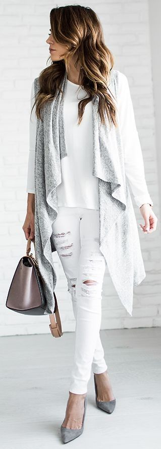 Gray open front vest + white distressed denim.