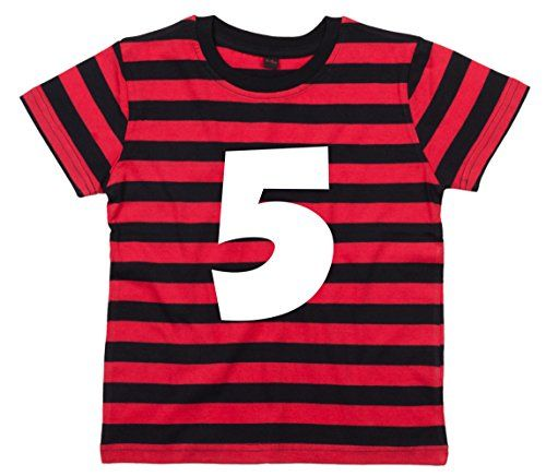 RED & BLACK STRIPED Children's T-Shirt 'PERSONALISED NAME & NUMBER' with White Print.