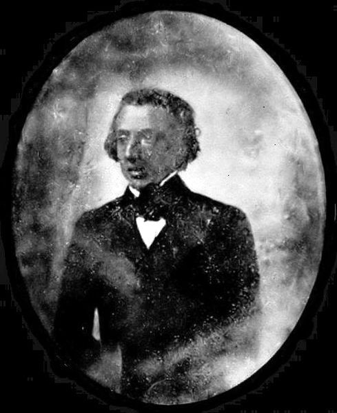 """1st Photo of Frédéric Chopin taken in 1846 or 1847 photograph (reversed). Original was in a museum in Warsaw and destroyed during WWII. Little known outside of Poland. It appeared in copied form; in books since circa 1980.   My simple observation is this photo of Chopin is a Calotype and not a Daguerreotype (there are no """"negatives).  My """"hunch"""" is more substantiation matching Chopin's death mask, last photo, his first photo, edema, heart disease and TB will be published soon.  Just a guess…"""