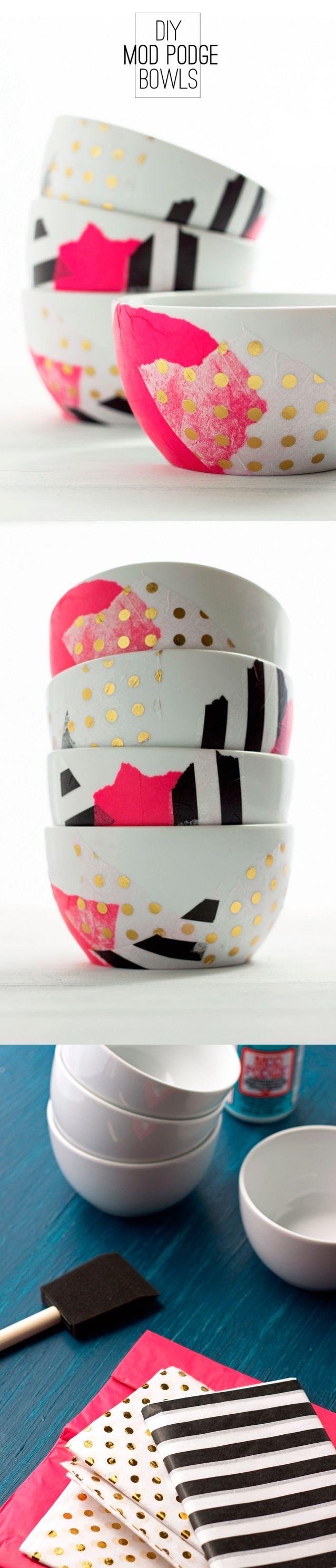 20 min DIY Mod Podge Bowls