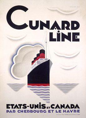 Cunard Line/Etats-Unis et Canada Poster Giclee Art Print Mounted Canvas Options