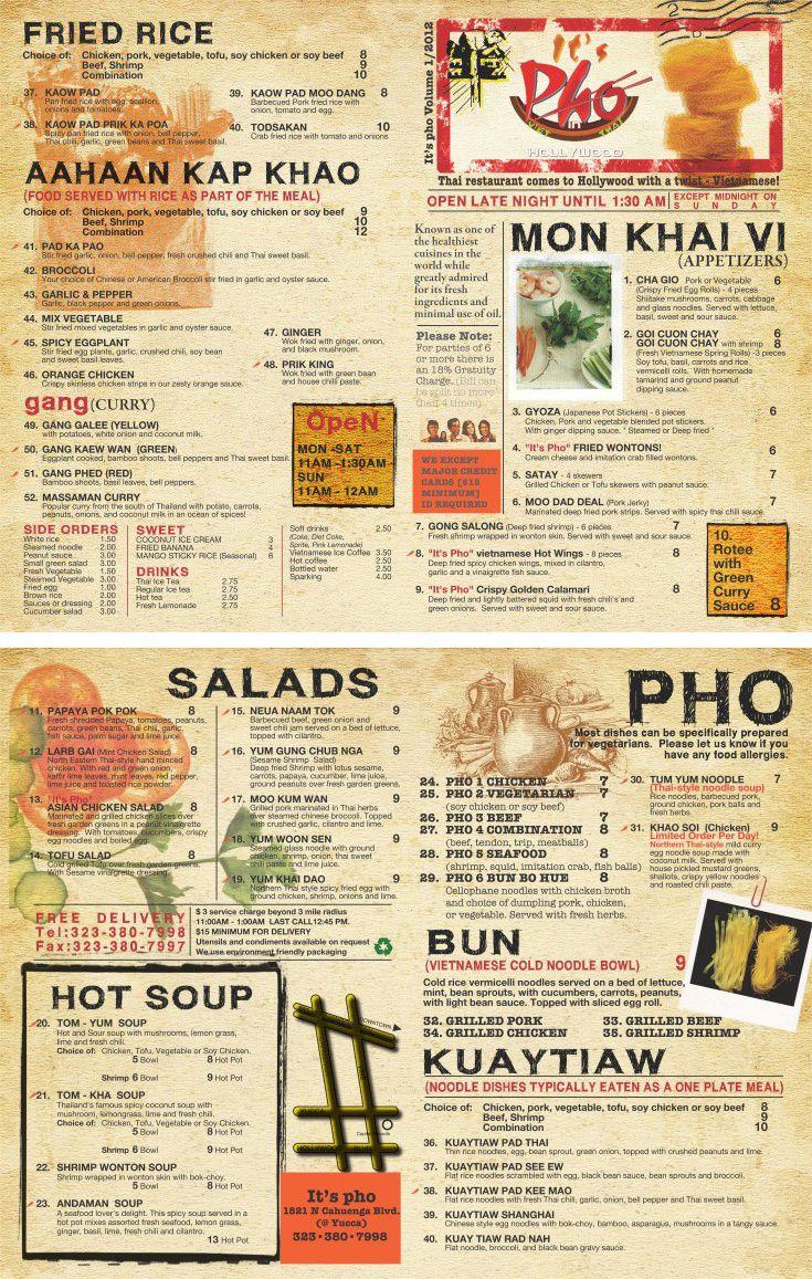 Vietnamese Restaurant To Go Menu Design And Printing Www Inprintla Brochures Pinterest
