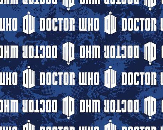BBc Dr. Who Logo Stripe cotton fabric by Springs Creative