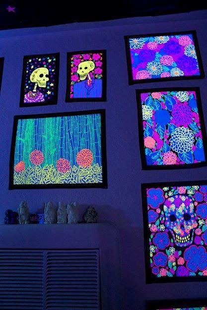 33 best blacklights in the home images on pinterest for Blacklight bedroom designs