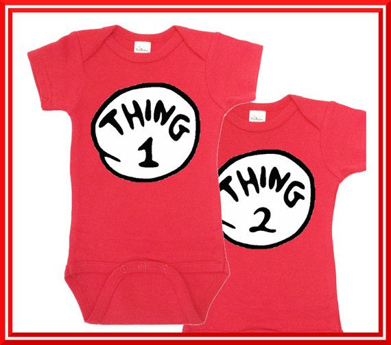 Dr Seuss Thing1 Thing 2 Onesie 1 Two Twin Onesies
