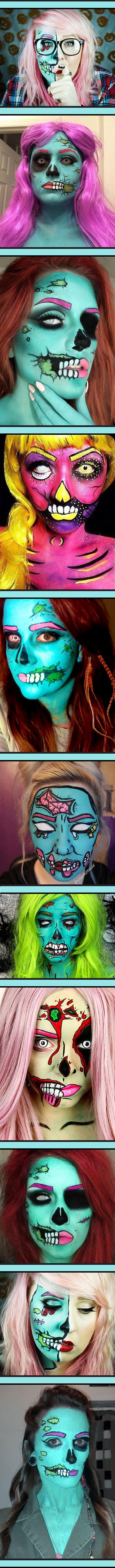 Zombie pop art makeup. Fun Halloween idea.