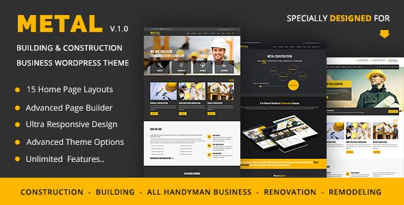 Metal is a powerful & unique business theme specially designed for Building, Renovation, Remodeling, Handyman ( Plumber & Electrician ) business or Construction industry and those that offer building services. Design your website just how you like it with Drag & Drop Builder (Visual Composer) which included in Metal. It is ultimate flexible with loads of nice options and features.