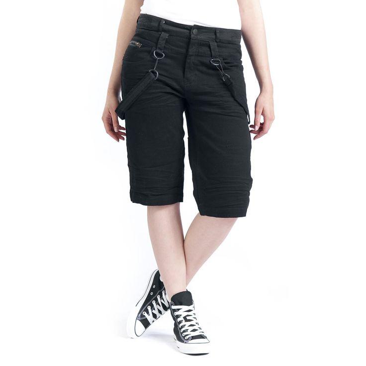"""Pantaloncini donna """"Rock Chain Shorts"""" della collezione Black Premium by EMP neri, lunghi fino al ginocchio con cinghie removibili. Un capo basic ma estremamente versatile, perfetto sia per la festa di compleanno della mamma che per un festival musicale."""