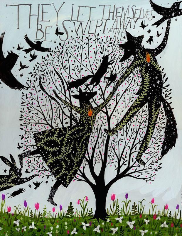 Inspirada pela natureza e pelo folclore, a artista Diana Sudyka cria um mundo de sonhos. Usa silhuetas e cores sólidas, padrões e frases escritas à mão.