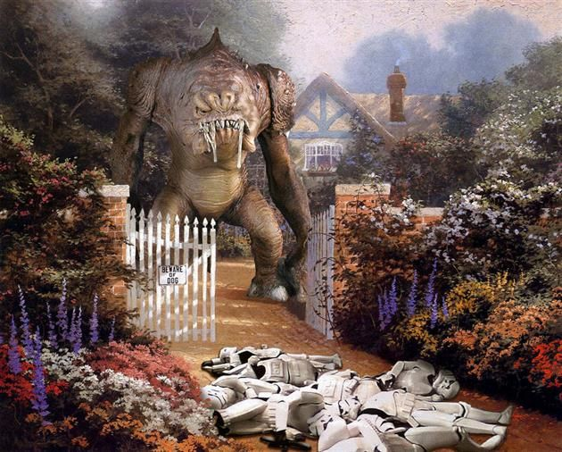 """""""War on Kinkade"""" illustration series. Artist Jeff Bennett decided to create a series that sees the world of Star Wars invading the world cre..."""