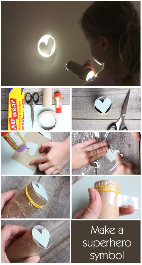 MODIFY symbols prn... seasonal - for a lesson illustration? - DIY superhero symbol --- What You Need:      * Toilet paper roll      * Piece of thin cardboard      * Plastic cling wrap      * Elastic band      * Scissors      * tape      * Flashlight