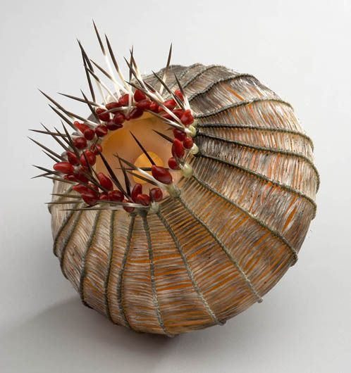 Cathy Strokowsky 'Blood Thistle' - blown glass, glass, artificial tendons fabric, thorns.