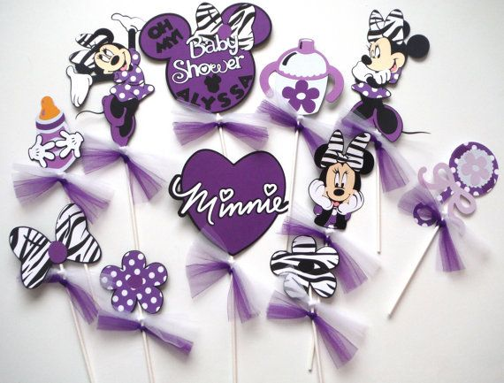 Baby Shower Purple And Zebra Minnie Mouse Themed Party Centerpiece Sticks  Set Of 11 Personalized