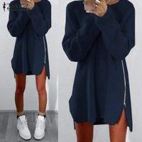 Vestidos 2017 ZANZEA Женщины С Длинным Рукавом Случайные Свободные Твердые Мини Dress Стороны Молнии Асимметричный Длинные Пуловеры Топы Плюс Размер