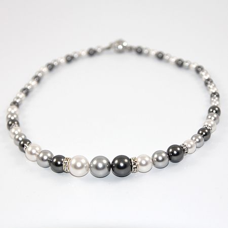 Penny - Swarovski Pearl and Rondelle Necklace - Greys