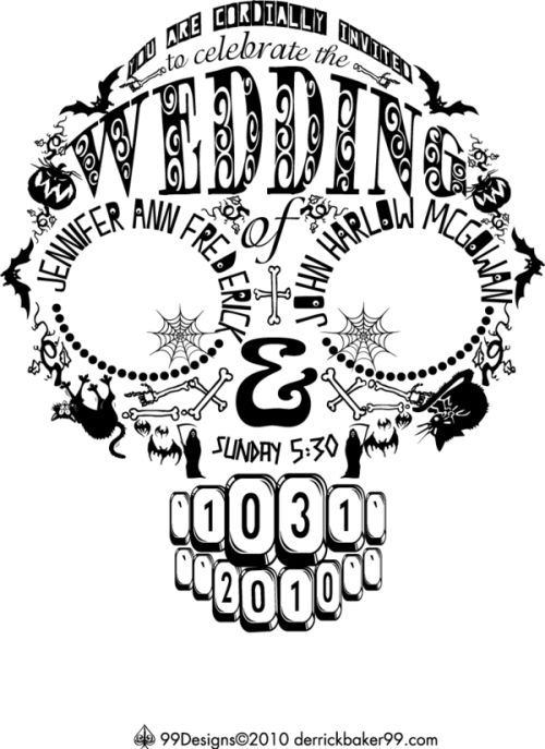 skull wedding invitation