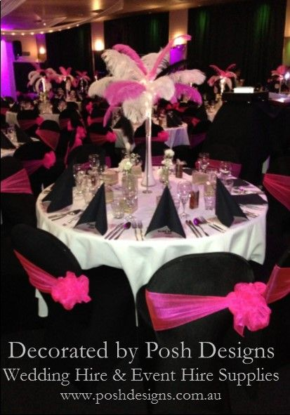 #Pink sashes #Pink feather table centre - #wedding and #event #theming available at #poshdesignsweddings - #sydneyweddings #countryweddings #southcoastweddings #wollongongweddings #ruffledsashes #weddingsashes All stock owned by Posh Designs Wedding & Event Supplies – lisa@poshdesigns.com.au or visit www.poshdesigns.com.au or www.facebook.com/.poshdesigns.com.au #Wedding #reception #decorations #Outdoor #ceremony decorations #Corporate #event decoration #Fundraising decoration  #graduations