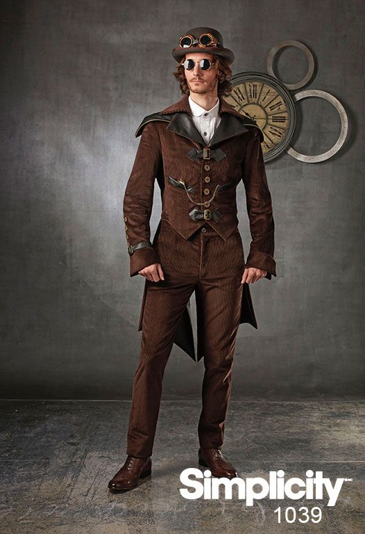 Steampunk costume for men - pattern includes jacket in two styles and pants with fly front opening.